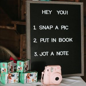 Wedding Book Polaroid Station with Sign